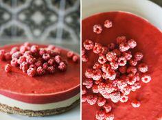raw cake with cashew- and strawberry cream