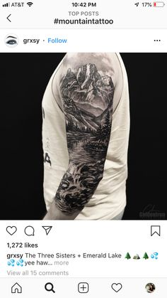 Mountain Sleeve Tattoo, Family Sleeve Tattoo, Forest Tattoo Sleeve, Half Sleeve Tattoos Forearm, Nature Tattoo Sleeve, Wolf Tattoo Sleeve, Half Sleeve Tattoos For Guys, Forest Tattoos, Cool Arm Tattoos