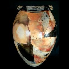 decorative wheel thrown mosaic pitfire art pottery cactus top centerpiece vase one of a kind raku home decor accent gift rob drexel pit fire...