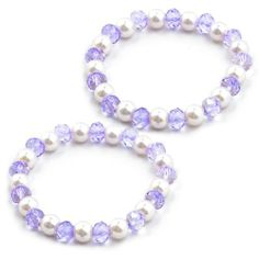 "Rosallini Pair Artificial Pearl Beads Stretch Bracelet Jewelry White Clear Purple Rosallini. $3.65. Package : 2 x Bracelets. Material : Plastic;Flat Girth : 17cm/0.7"". Weight : 29g. Bead Diameter : 0.8cm/0.3"";Color : Clear Purple, White. Product Name : Bracelet;Fit for : Women"