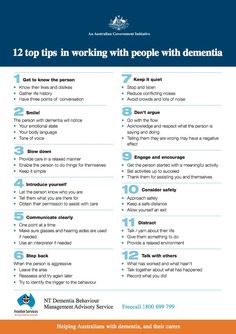 12 top tips in working with people with dementia. Repinned by SOS Inc. Resources http://pinterest.com/sostherapy/.