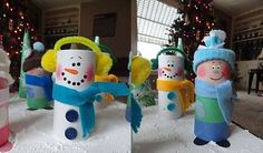 christmas crafts for kids reuse toilet paper rolls snowman decorating ideas