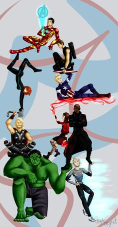 """Avengers"" fan art by Paige Siegert Cap being all ""Draw me like one of your American girls"""