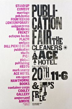 ace hotel poster by the official manufacturing company Type Posters, Graphic Design Posters, Graphic Design Typography, Graphic Design Illustration, Graphic Design Inspiration, Event Posters, Japanese Typography, Poster Designs, Poster Ideas