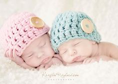 Baby Button Hat for Twins  Crochet Newborn Photo Prop. $34.00, via Etsy.