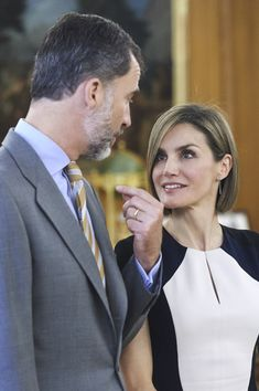 King Felipe VI of Spain and Queen Letizia of Spain attend several audiences at the Zarzuela Palace on May 18, 2015 in Madrid, Spain.