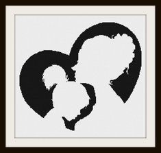Mother and Daughter Silhouette Cross Stitch Pattern 1 by PhotoCrossStitch on Etsy Mother And Daughter Drawing, Mother And Child Painting, Silhouette Tattoos, Silhouette Painting, Easy Drawings Sketches, Art Drawings, Pencil Art, Pencil Drawings, Mustache Drawing
