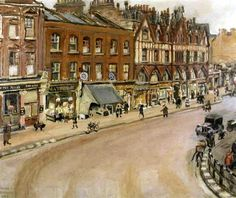 King's Road, Chelsea by Faith Sheppard 1940 (Private Collection). North side from corner of Park Walk almost as far as Beaufort Street. Kensington And Chelsea, Chelsea London, Old London, London Art, Victorian London, London History, End Of The World, England, Street View