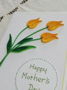 Wonderful yellow tulip card created with quilling paper. Paper Quilling Cards, Paper Quilling Tutorial, Paper Quilling Flowers, Paper Quilling Patterns, Quilled Paper Art, Quilling Craft, Paper Cards, Quilling Ideas, Quiling Cards
