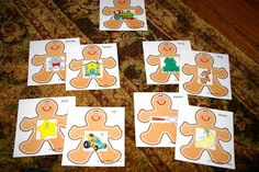 Gingerbread activities: FREE gingerbread man cards for a rhyming game.