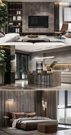 Residential interior using natural … – Typical Miracle Kitchen Room Design, Home Room Design, Interior Design Living Room, Living Room Designs, Living Room Decor, Living Rooms, Luxury Bedroom Design, Luxury Kitchen Design, Contemporary Kitchen Design