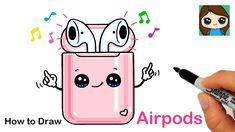 These cute AirPods do! Learn How to Draw cartoon Apple AirPods in a case easy, step by step drawing lesson tutorial. Cool Cartoon Drawings, Kawaii Girl Drawings, Cute Little Drawings, Cute Disney Drawings, Cool Art Drawings, Cute Doodle Art, Doodle Art Drawing, Cute Art, Kawaii Doodles