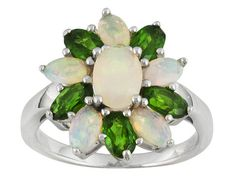 .97ctw Oval Ethiopian Opal With .93ctw Oval Chrome Diopside Sterling Silver Ring