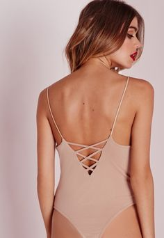Lattice Back Bodysuit Nude - Tops - Bodysuits - Missguided
