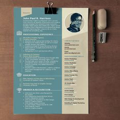 free 1 page indesign resume template - Adobe Resume Template