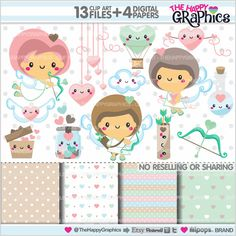 Valentine Clipart, Love Clipart, Valentines Day Clipart, COMMERCIAL USE, Cupid, Kawaii Clipart, Planner Accessories, Valentine Graphics