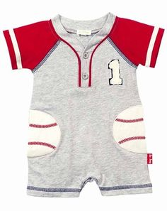 Le Top Infant Boys Heather Gray Romper with Baseball Pockets Girls Summer Outfits, Summer Girls, Baby Boy Outfits, Kids Outfits, Children's Boutique, Boutique Clothing, Top Les, Baby Suit, Spring Tops