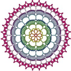 ideas crochet rug mandala for 2019 Mandala Au Crochet, Crochet Granny, Crochet Motif, Crochet Shawl, Crochet Stitches, Knit Crochet, Lace Knitting, Knitting Patterns, Crochet Patterns