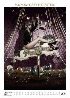 En Septiembre: Esmeralda Mitre. Ésta vez diferente. Aquí la encontramos celebrando montada en un unicornio de calesita... // Calendario Mumm 2013 + Gaby Herbstein