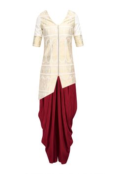 Cream And Gold Baluchari Jacket with Red Dhoti Pants available only at Pernia's Pop Up Shop.