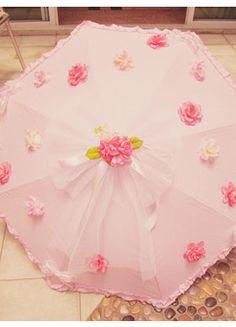 Pink rose lace Lolita Umbrella