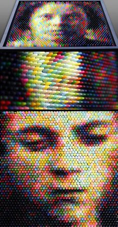 Unique art created with vertical crayons to form amazing images and portraits -- Art by Christian Faur.