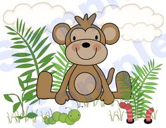 JUNGLE ZOO ANIMALS NURSERY WALL BORDER DECALS baby kids room stickers decor.