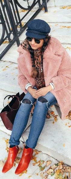 2018 Winter Coat Trends | dreamingloud.com  --------------------------------------------pink Faux fur coat, blush faux fur coat, stripe tee, ag distressed skinny jeans, leopard scarf, Briton fisherman hat, red booties, winter outfits, street style, fashion blogger, trending winter outfits