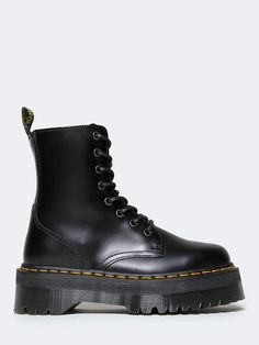 - Take on the day with classic Doc Martens! - This quality black ankle boot is made with a polished smooth leather, laces up the front and yellow stitching at the sole for a traditional look. - Brand: