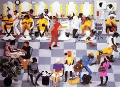 You Next Sugar by Annie Lee is an African-American art print illustrating a a busy hair salon. African American Artwork, American Artists, African Art, Annie Lee, Popular Paintings, Art Paintings, Pelo Natural, Afro Art, First Art