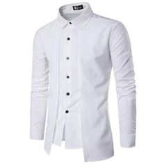 Casual Solid Color Male Social Shirt Imitation Two Pieces Slim Fit Shirt For Men Patchwork Spring Brand Men's Long Sleeve Shirts Collar Shirts, Shirt Blouses, Men's Shirts, Dress Shirts, Collar Blouse, Formal Shirts, Casual Shirts, England Mode, Terno Casual