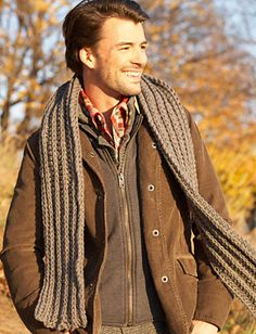 Men's crochet scarf - free pattern...Need to go to Ravelry first, click on pattern, then scroll all the way to bottom for pattern...