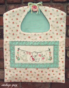 vintage grey: one made to order sweet kittens wash day clothespin bag now in the shoppe! Only one available with these prints! http://vintagegrey.storenvy.com/