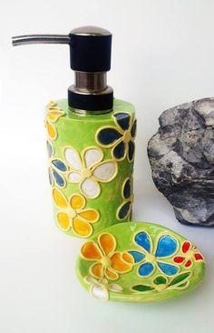 komplet : mydelniczka i dozownik do mydła - Piekarnia sztuki - Krystyna Nicz #ceramika #handmade #ceramic #pottery