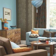 brown and blue living room color schemes Blue Orange Rooms, Blue And Orange Living Room, Living Room Turquoise, Teal Living Rooms, Colourful Living Room, Living Room Color Schemes, Living Room Green, Living Room Colors, My Living Room