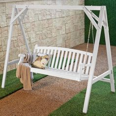 Wood Porch Swing Stand - White. Durable, long-lasting Eucalyptus wood construction. Hanging hooks included for easy installation. Quickly assembles with household tools. Swing sold separately. Dimensions: 86.25L x 45W x 70H inches. Weight Capacity 600 lbs.  $72 with free shipping.
