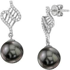 Tahitian South Sea Pearl & Diamond Nancy Earrings ($1,319) ❤ liked on Polyvore featuring jewelry, earrings, black, diamond earrings, diamond jewellery, earring jewelry, 18 karat gold jewelry and south sea pearl jewelry