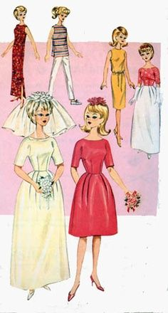 1964 Butterick pattern for Barbie and other dolls. #vintage #barbie