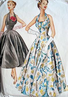 McCall's 9662 ©1954 Evening Dress in Two Lengths
