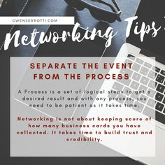 Networking Tips: Tip 7 – Separate the Event from the Process. Networking is not keeping score of how many business cards you have collected. It takes time to build trust and credibility. Separate, Effort, Business Cards, Connection, Trust, Take That, How To Get, Lipsense Business Cards, Carte De Visite