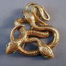 Vintage Triple Snake Serpent Brooch $40