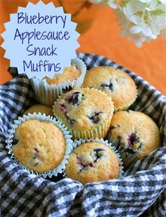 Make fluffy melt-in-your-mouth blueberry applesauce muffins!