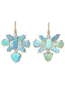 One-Of-A-Kind Opal and Diamond Drop Earrings