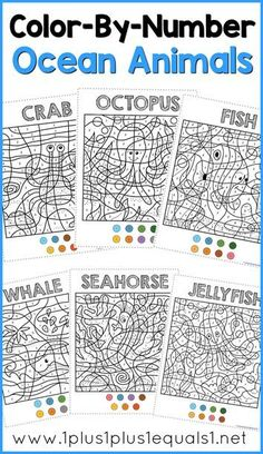 Free Color By Number Ocean Animals Coloring Pages ~ Jellyfish, Fish, Seahorse, Octopus, Whale and Crab