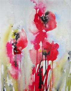 """Original art for sale at UGallery.com   Poppies by Karin Johannesson   $425   watercolor painting   18"""" h x 16"""" w   http://www.ugallery.com/watercolor-painting-poppies-26552"""