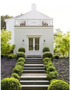 A gorgeous white weatherboard home and garden to end the day. Image via #gardenista. This is the home of Architect Barbara Chambers from Mill Valley.