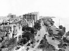 Lake Shore Drive was laid out in 1875 to connect Oak Street with North Avenue, at the south end of Lincoln Park, but it grew into the thoroughfare that runs the length of Chicago's lakefront parks. This view, from the 1920s, looks north from about Oak Street.