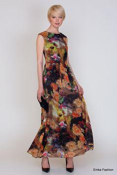 Длинное летнее платье Emka Fashion PL-425/fotain