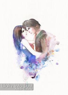 Watercolor - Rinoa Heartilly + Squall Leonheart of FFVIII - Final Fantasy 8 - Fantasy Series, Final Fantasy, Still In Love, Artist Signatures, Watercolor And Ink, Romantic, Artwork, Prints, Etsy