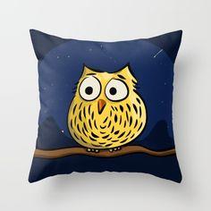 Supercute throw pillow. Owl sitting on a branch. Design by Richard Eijkenbroek.  https://society6.com/product/cute-little-owl-xrj_pillow#25=193&18=126